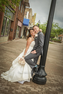Bride+Groom at Cuyahoga Falls Front St. Mall